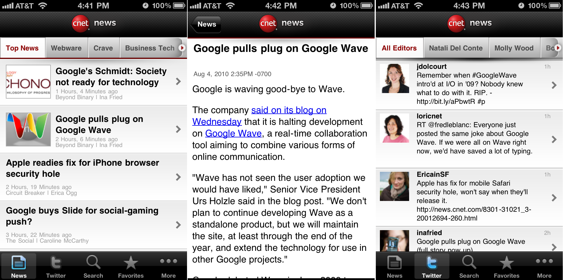 CNET News iPhone app screenshots