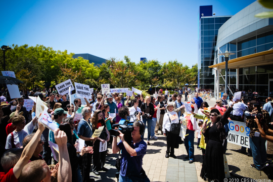 Several dozen protestors gathered outside Google headquarters in Mountain View, Calif., Friday to protest the company's proposed net neutrality regulations.