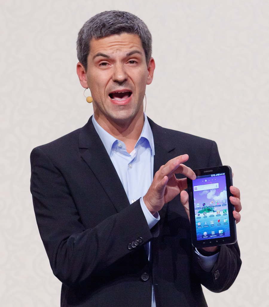 Thomas Richter, head of Samsung's product portfolio for the European telecommunications division, unveils the Galaxy Tab, an Android-powered tablet, at the IFA show in Berlin.