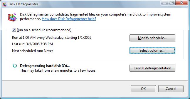 Windows Vista Disk Defragmenter