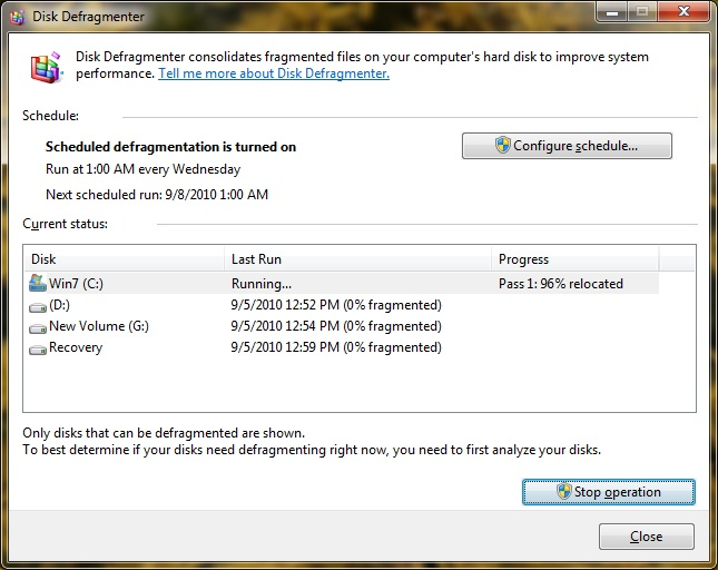 Windows 7 Disk Defragmenter utility