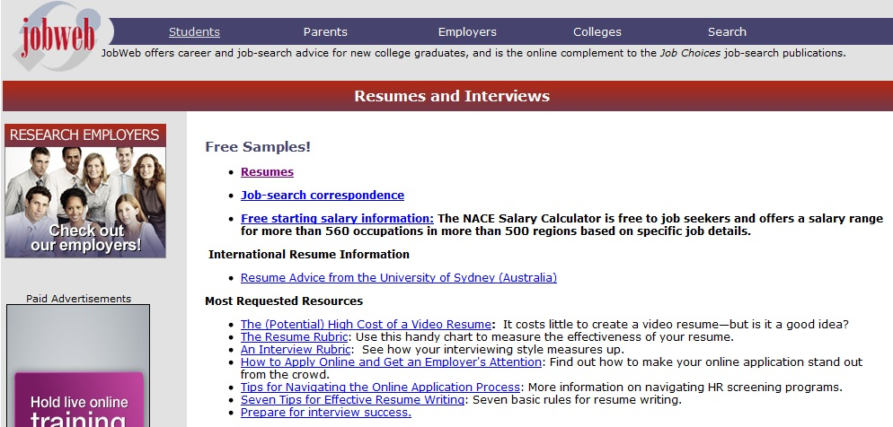 Jobweb resumes and interviews page