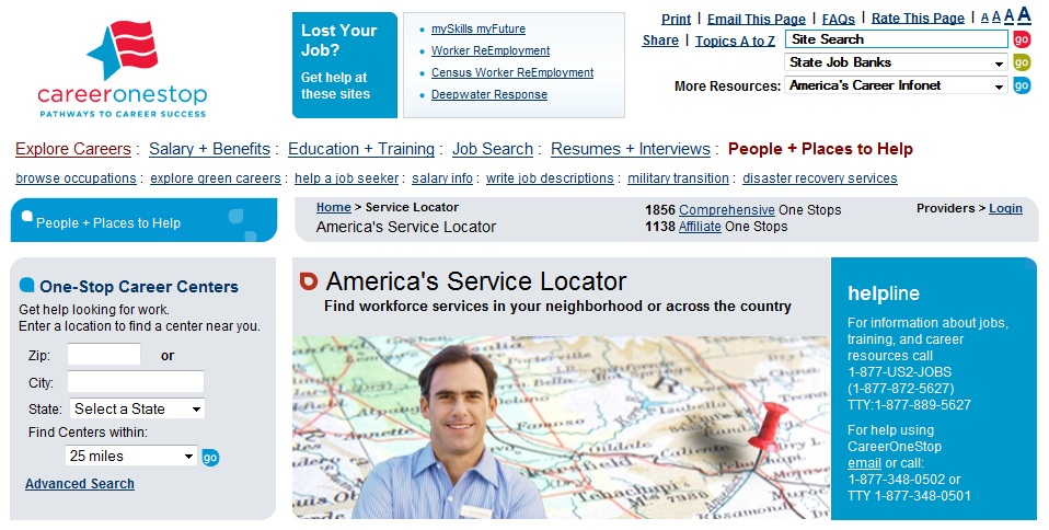 America's Service Locator site for job seekers