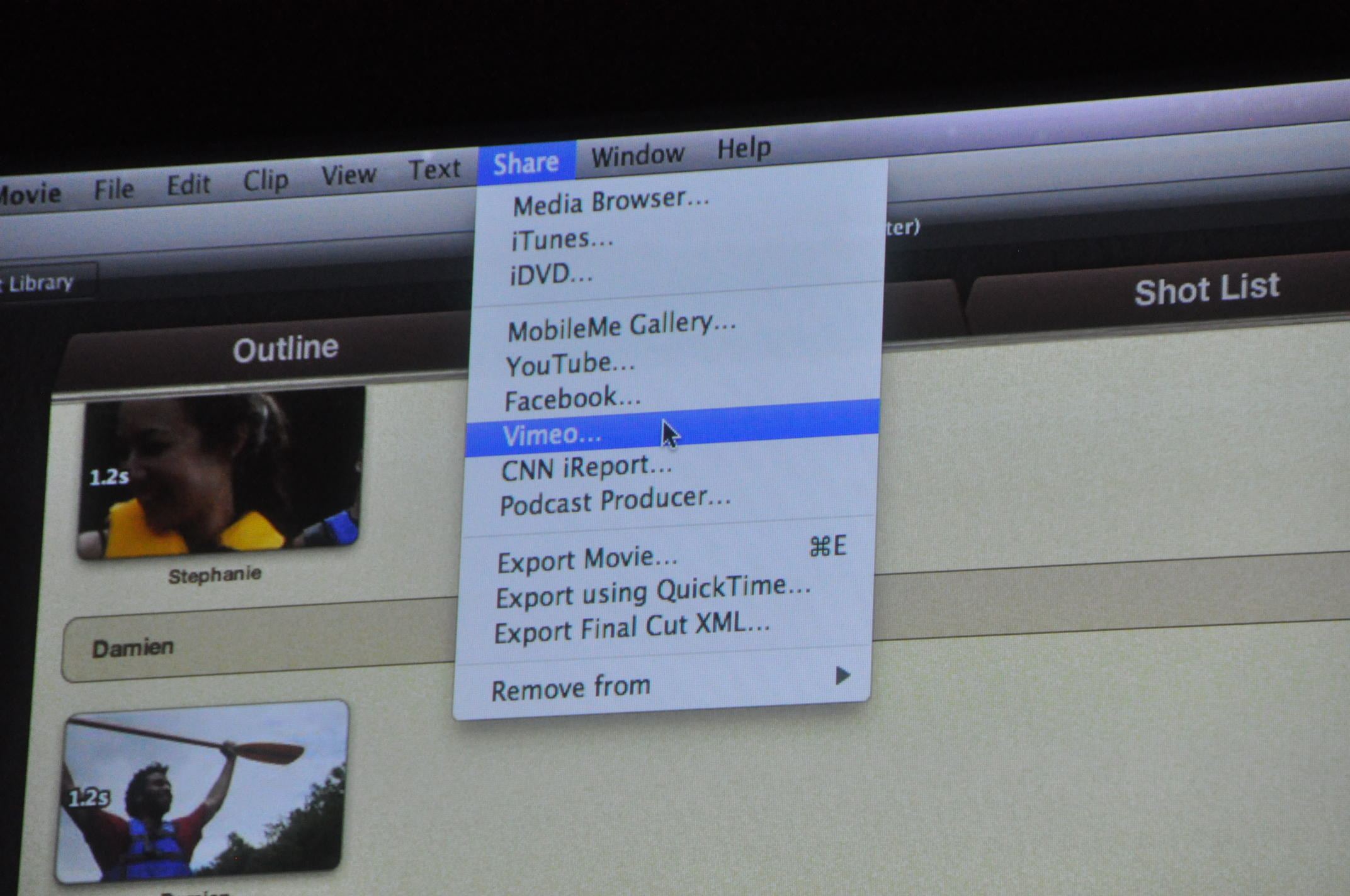 Exporting movies from iMovie
