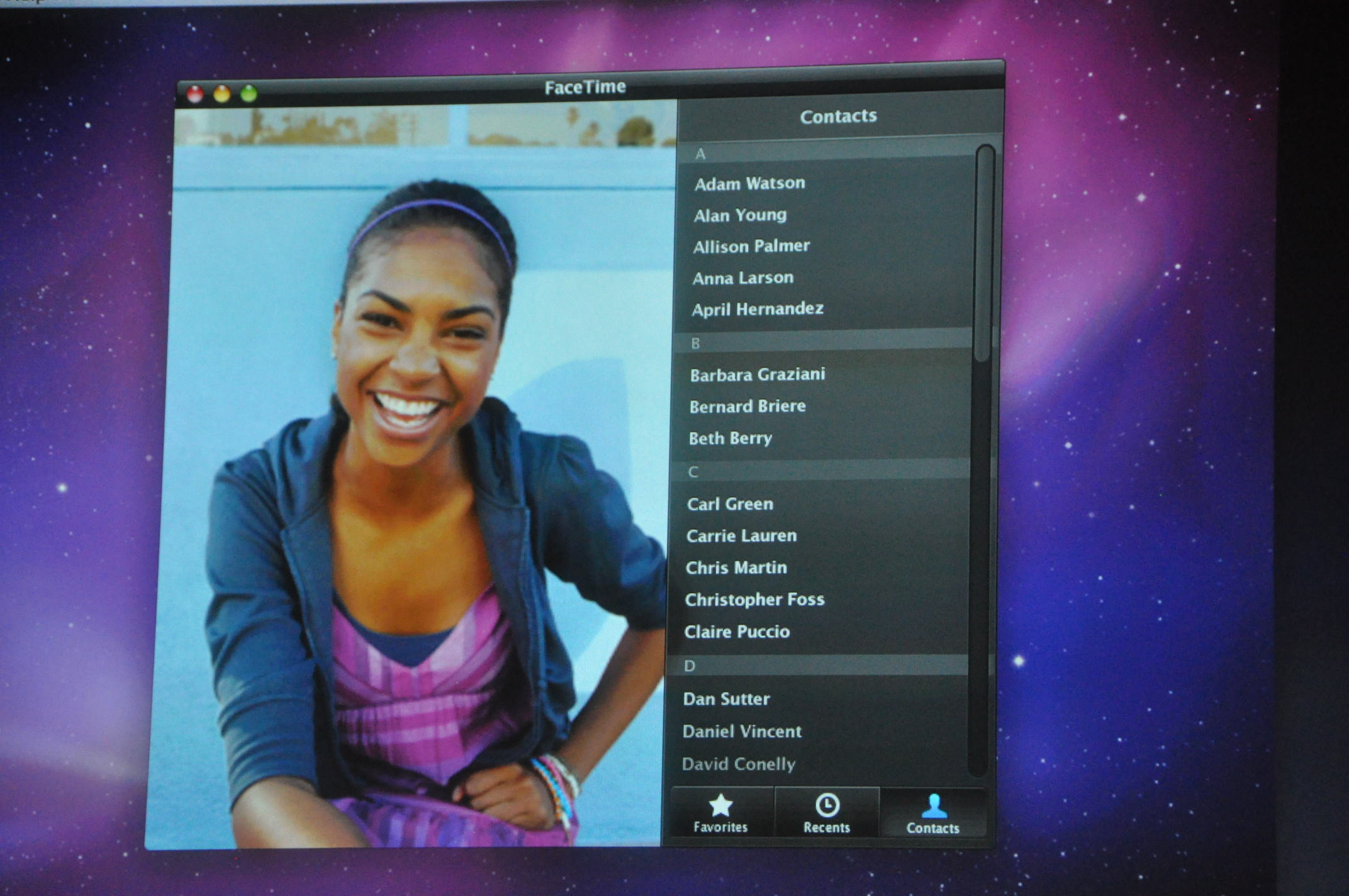 FaceTime demo on Mac
