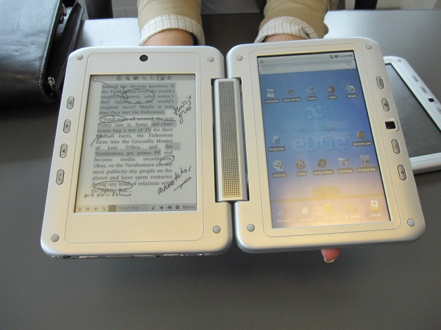 Photo of the Pocket eDGe from Entourage, a dual-screen tablet and e-book reader.