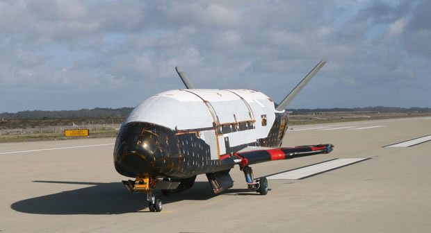 The X-37B Orbital Test Vehicle on the runway.