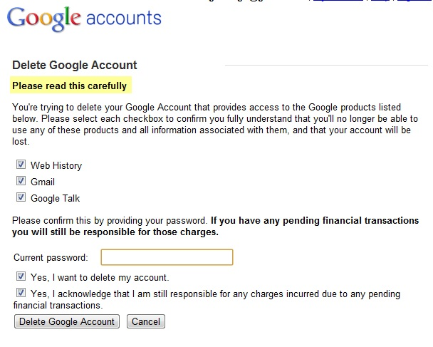 Google account-cancellation page