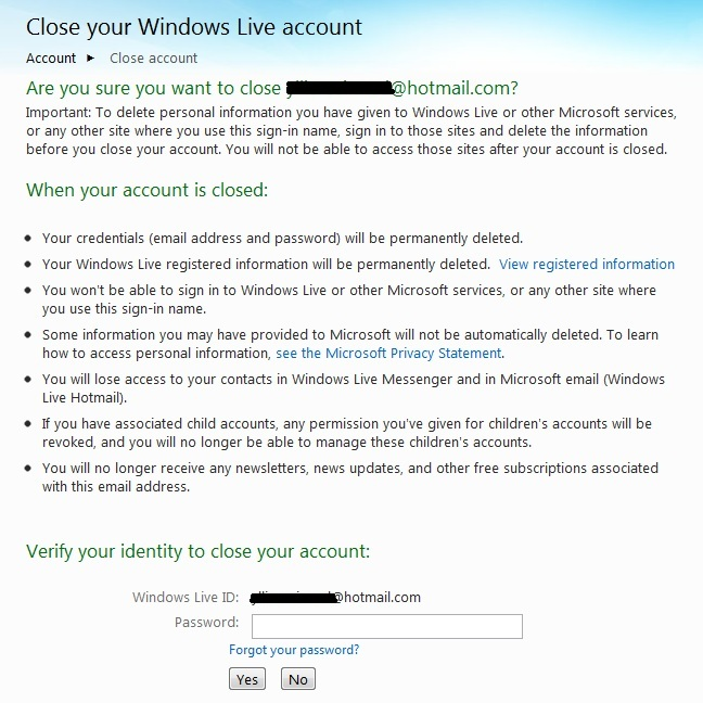 Windows Live account-cancellation page