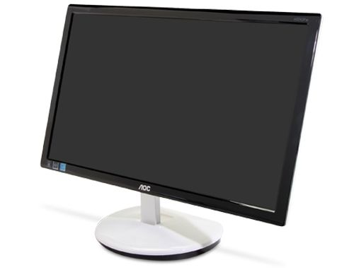 The LED-backlit AOC e2243Fw has a snazzy, futuristic design you don't normally see at this price point.