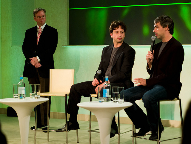 Google's Larry Page (right) has his work cut out for him now that Google's ruling trio of Eric Schmidt (left) and Sergey Brin has changed.