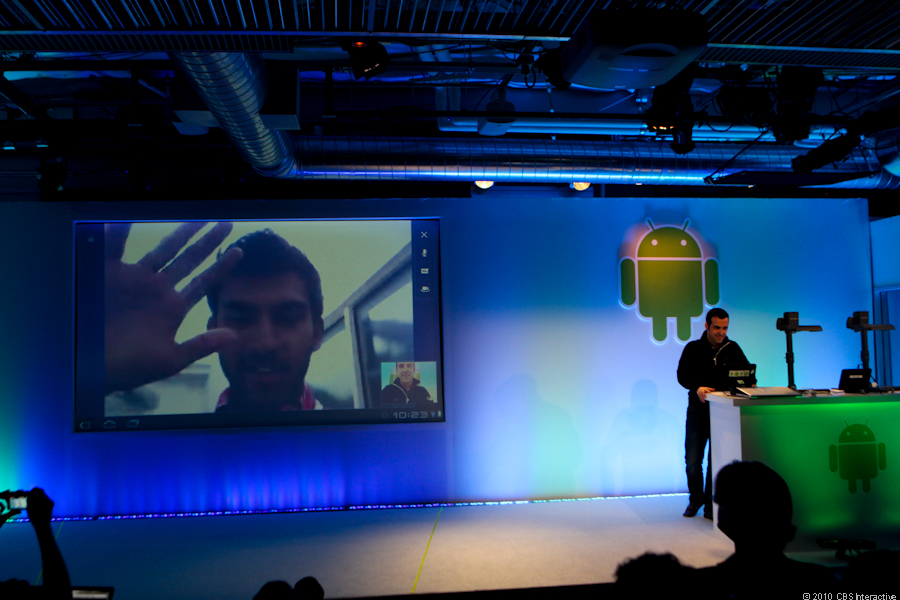 Anand steps in to help demo the video chat app on Honeycomb.