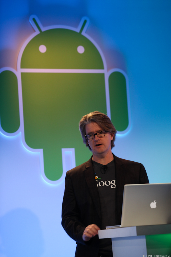 Chris Yerga, Google engineering director, introduces the Web-based Android Market.