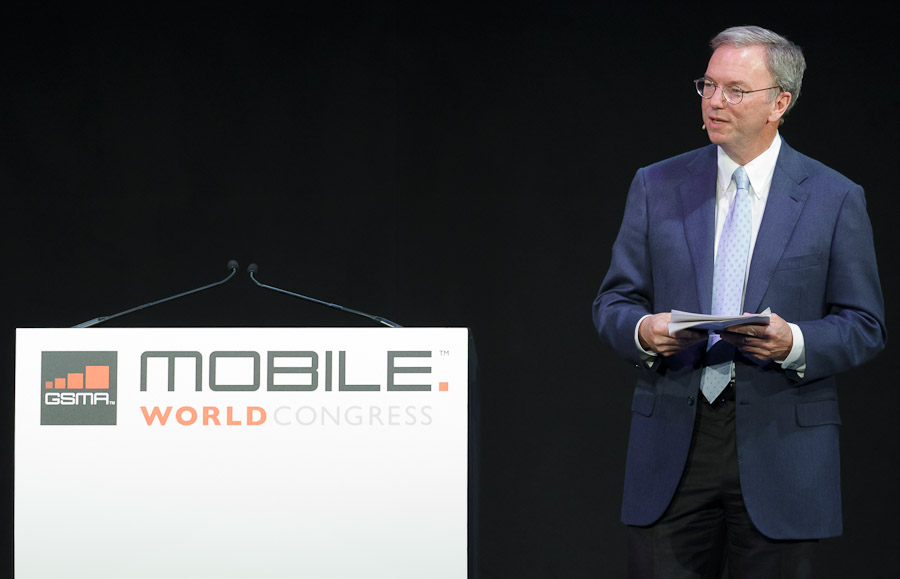 Google CEO Eric Schmidt speaks at Mobile World Congress 2011.