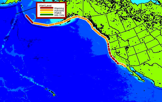NOAA's tsunami warning for the west coast of North America.
