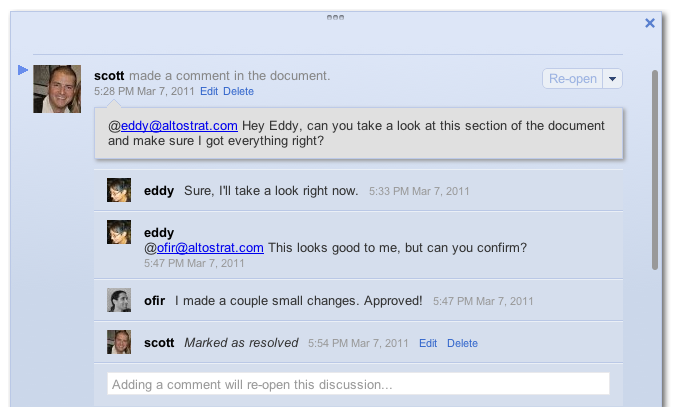 Google Docs lets you address particular comments to people. They're notified of comments by e-mail.