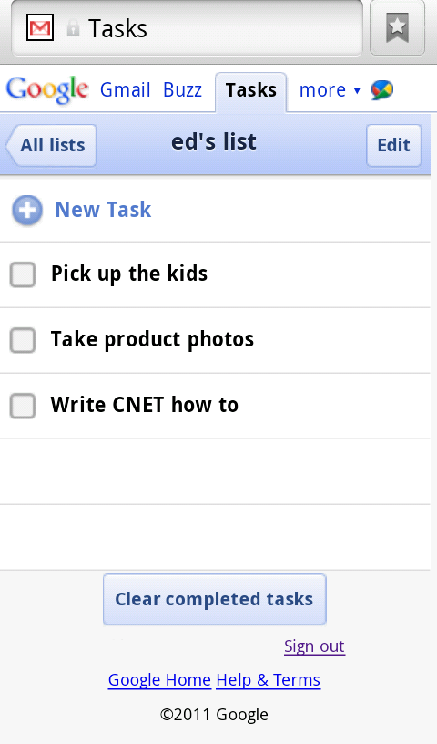 Google Tasks on Android