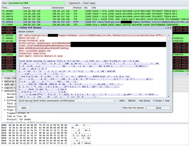 This is a screenshot of the Wireshark program sniffing out an authToken as an Android device accesses Picasa Web Albums.