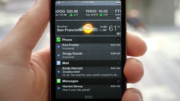 As with Android's notification bar, iOS 5 lets you swipe down to see your alerts.