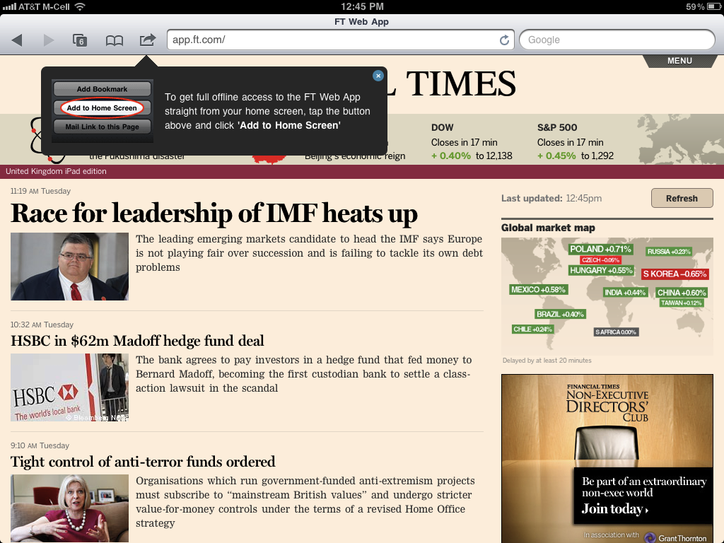 The Financial Times Web app, which takes the place of the company's native application.