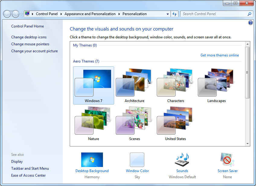 Windows 7 personalization
