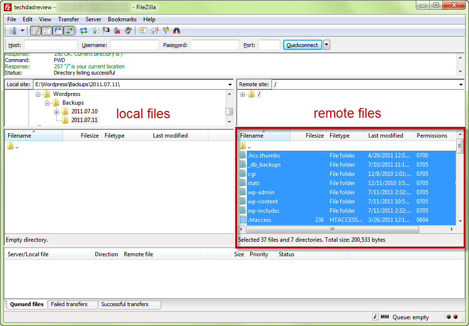 FileZilla select files