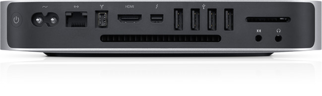 The new Mac Mini gets a Thunderbolt port, but also retains its HDMI output.