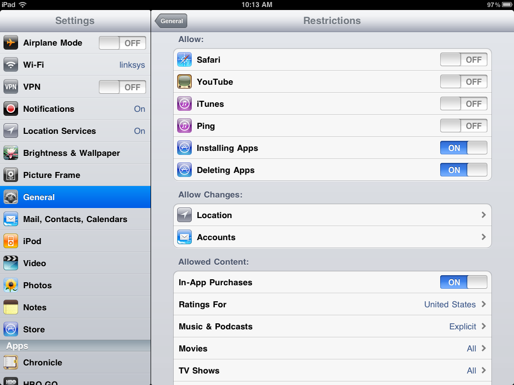 iPad Enable Restrictions screen