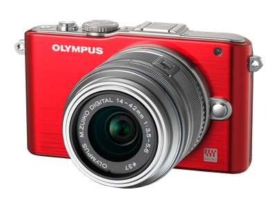 Olympus PEN E-PL3 (with 14-42mm lens, Red)