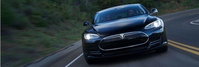 The alpha version of the Tesla Model S electric sedan.