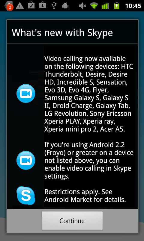 The update information for Skype's Android app.