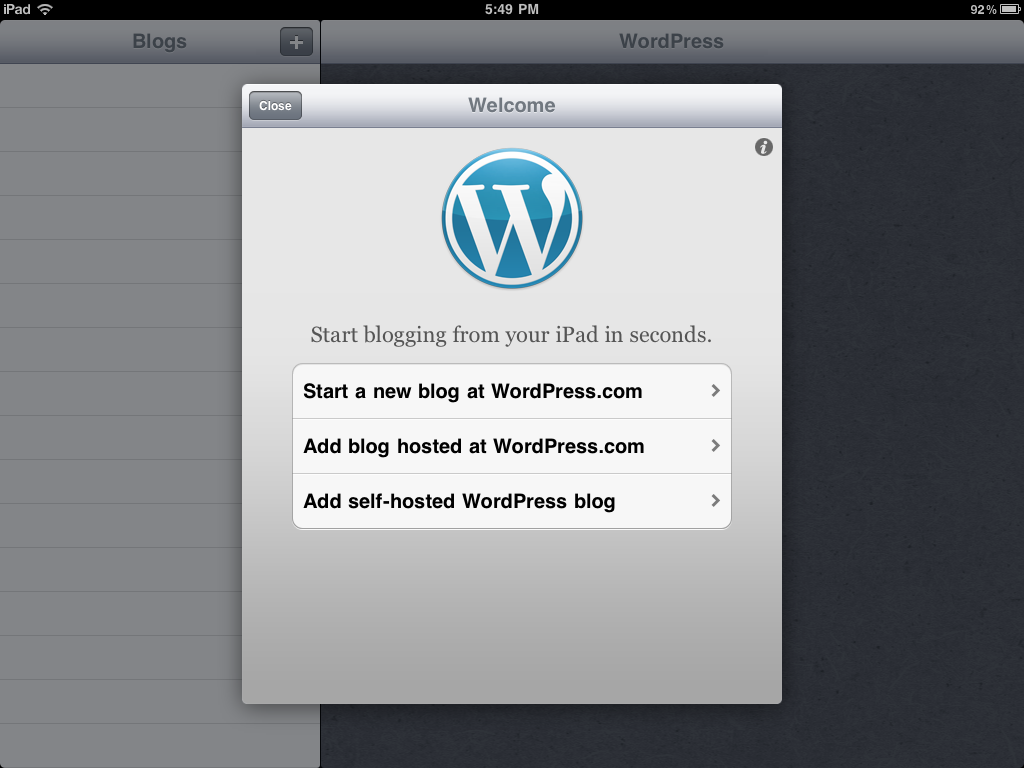 WordPress app for iPad initial screen