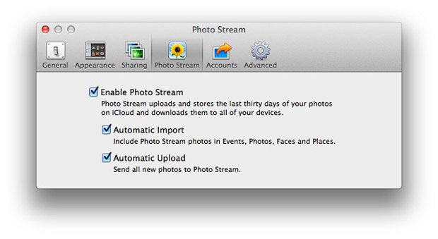 Enable photo stream on the Mac