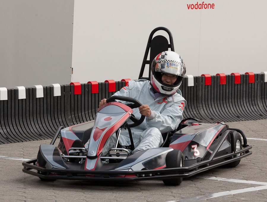Vodafone sponsors Formula 1 racing, and IFA attendees could get a taste of the sport at the show.