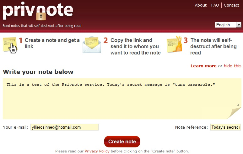 Privnote secure-messaging service