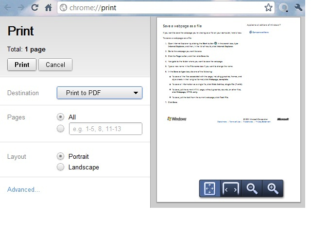 ETR | How to print (save) a webpage as a PDF