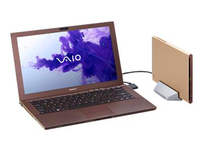 "Sony VAIO Z Series VPC-Z22UGX/N - Core i7 2640M / 2.8 GHz - Windows 7 Professional 64-bit - 6 GB RAM - 128 GB SSD + 128 GB SSD - DVD-Writer / Blu-ray - 13.1"" wide 1920 x 1080 / Full HD - Intel HD Graphics 3000 - carbon fiber gold - keyboard: QWERTY - with Sony Power Media Dock"