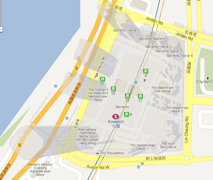 The WebGL-powered version of Google Maps shows transparent 3D buildings such as this view of Hong Kong's Kowloon area.