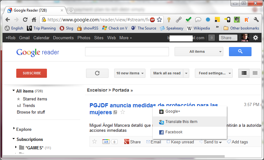Translate Google Reader items