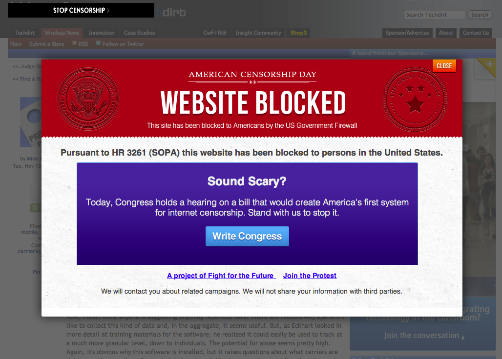 This is an example of the anti-SOPA pop-up banners that Web sites were displaying today.