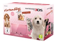 Nintendo 3DS (Coral Pink) Nintendogs + Cats Bundle