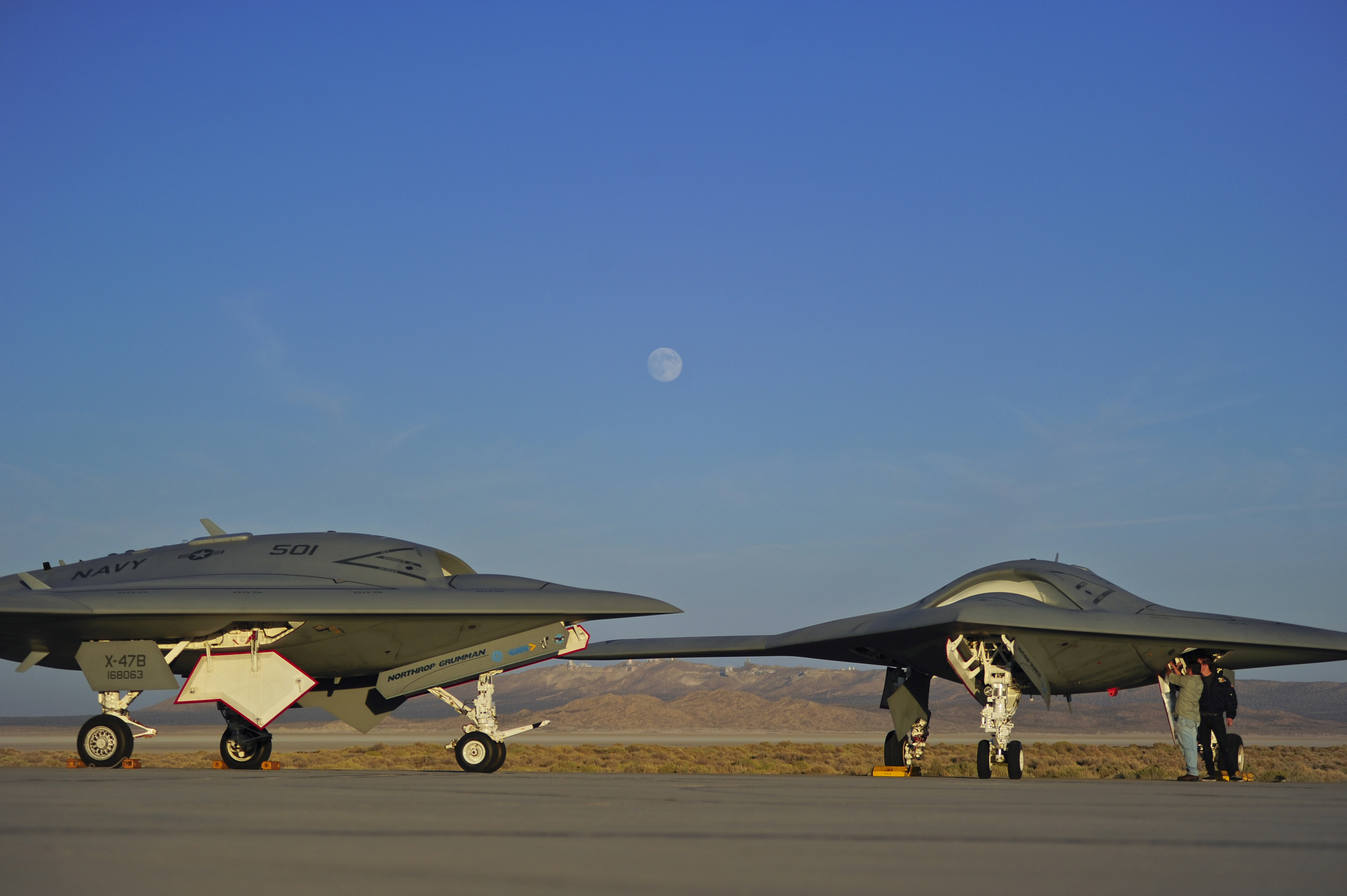 X-47B drones at Edwards AFB