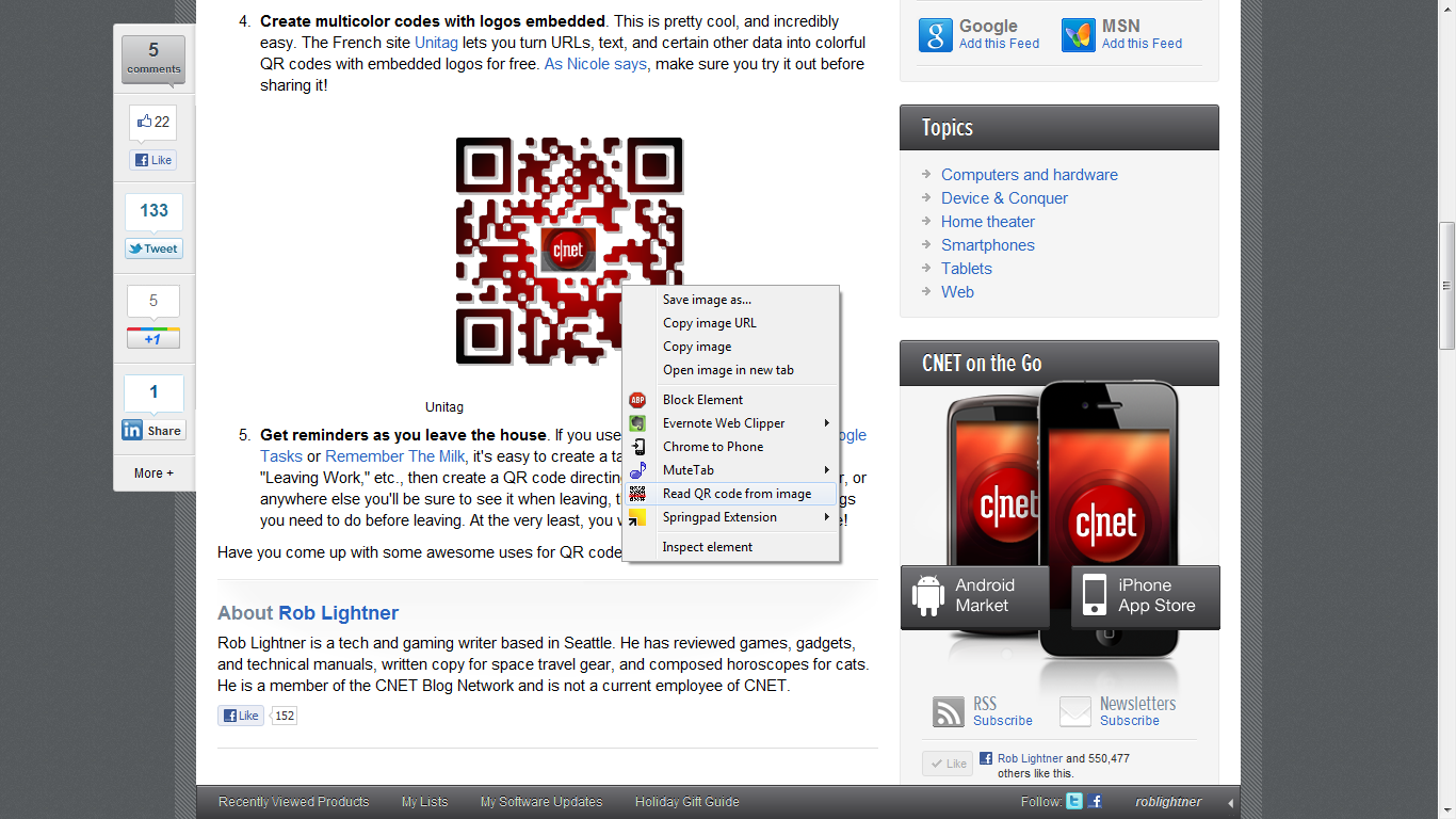 Step 2: Right-click the QR code.