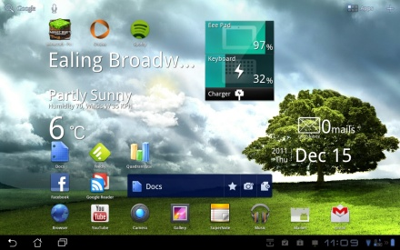 Asus Eee Pad Transformer Prime home screen
