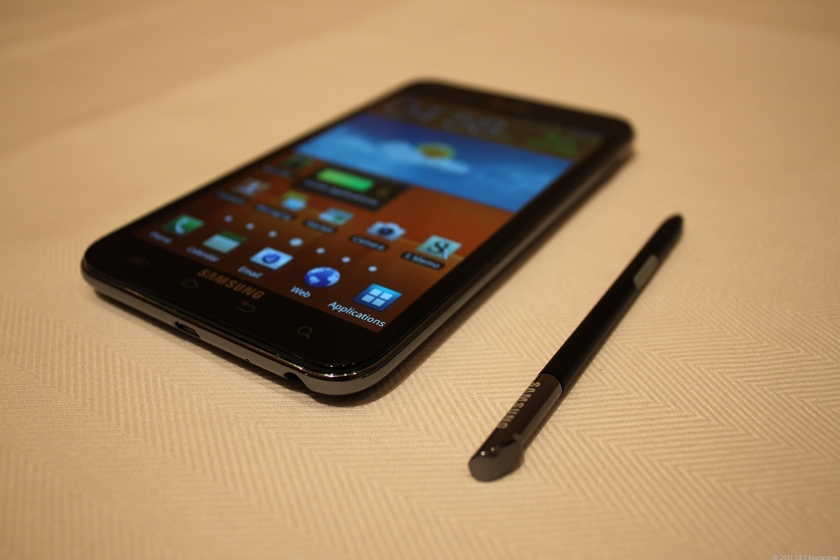 The Galaxy Note and included stylus