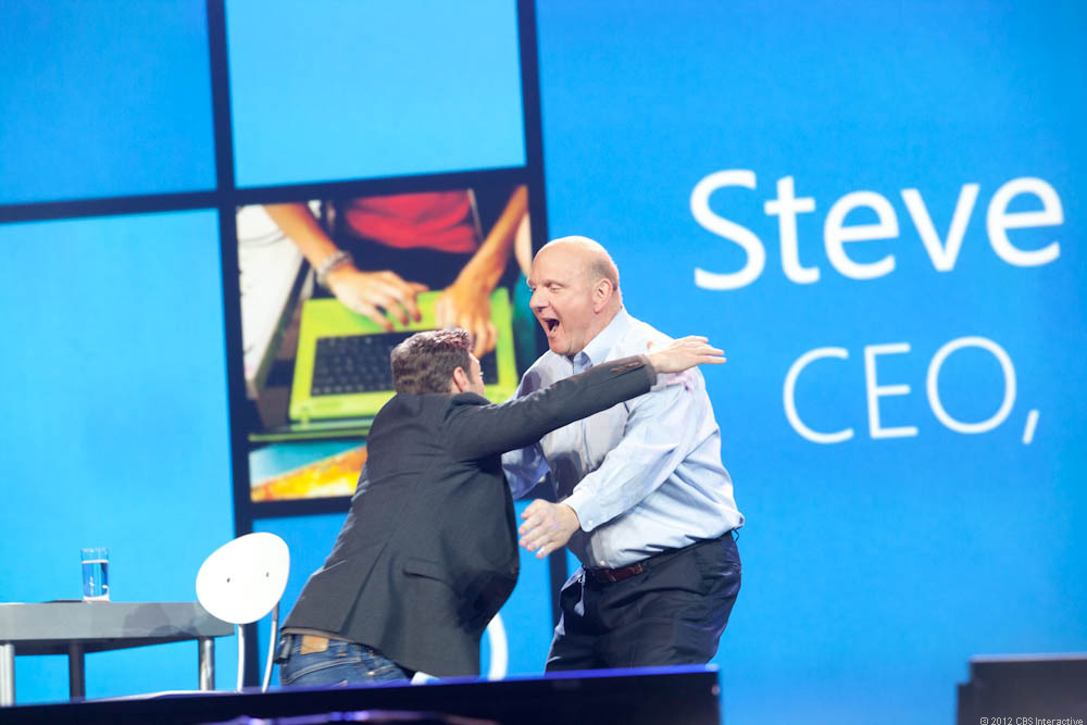 Ryan Seacrest gives Steve Ballmer an extremely warm welcome to the stage.