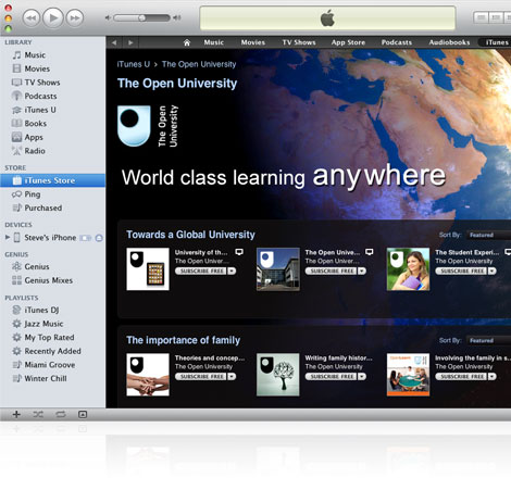 Apple's iTunes U page on iTunes.