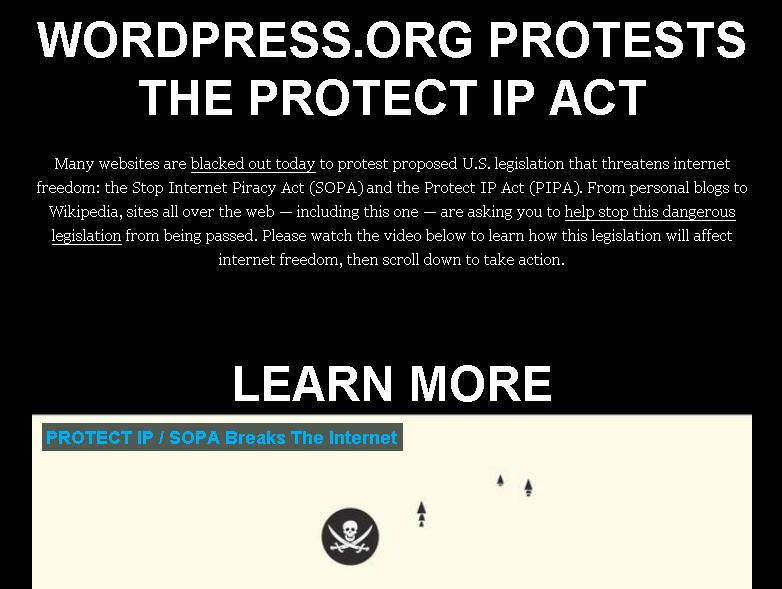WordPress during SOPA blackout protest, Jan. 18, 2012