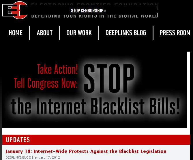 EFF's home page in SOPA protest