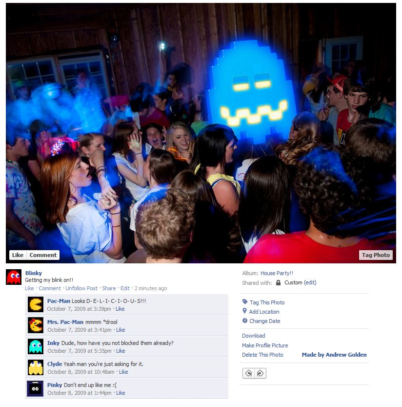 Blinky from Pac-Man Facebook profile